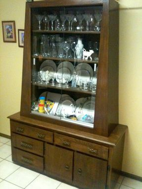 Custom Made Walnut Stained Oak China Cabinet