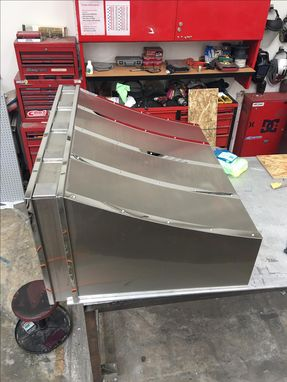 Custom Made #34 Brushed Stainless Steel Range Hood With Custom Squares