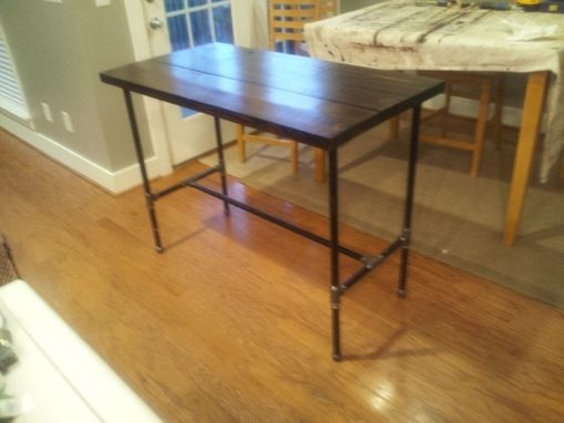 Custom Made Reclaimed Wood And Black Iron Pipe Table