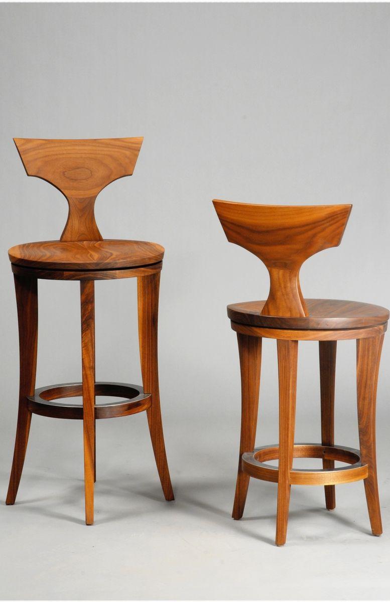 Handmade American Walnut Counter Or Bar Stool By Lee
