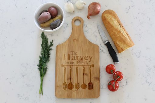 Custom Made Personalized Paddle Cutting Board --Cb-Pad-Harvey