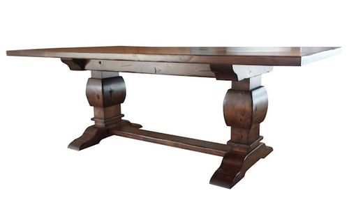 Custom Made Knotty Alder Trestle Table Gunstock Finish