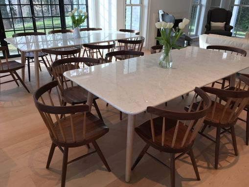 Buy a hand made stella modern dining table base for a for Custom made marble dining tables