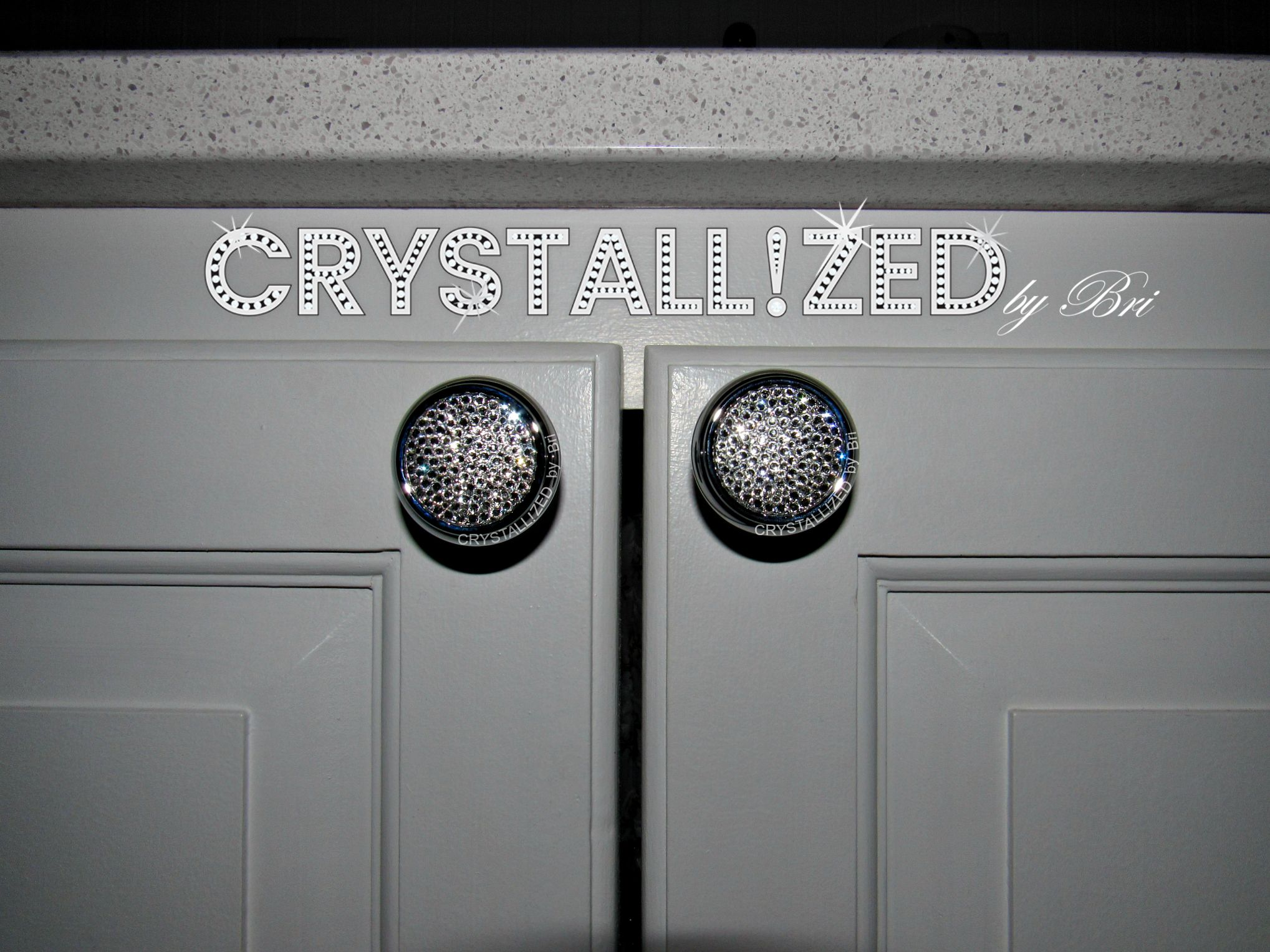 Custom Made Crystallized Round Cabinet S With Swarovski Crystals Set Of 2