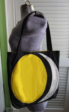 Custom Made Upcycled Tote Bag Made From Vintage Napkins With A Moon Design