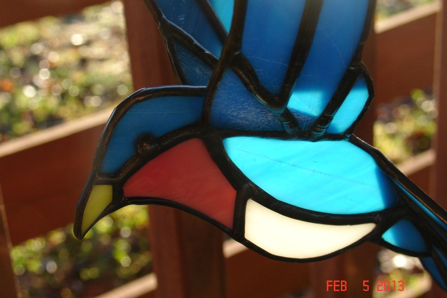 Hand Crafted 3d Flying Stained Glass Bird In Blue Orange