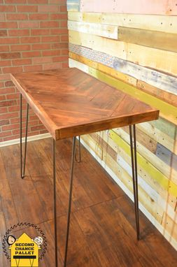 Custom Made Handcrafted Pallet Herringbone Console Table With Midcentury Hairpin Legs