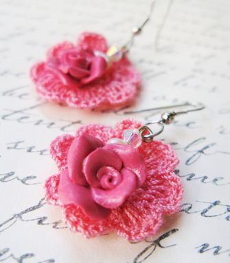 Custom Made Coral Pink - Mini Doilies Lace And Handcrafted Polymer Clay Rose Earrings With Crystals