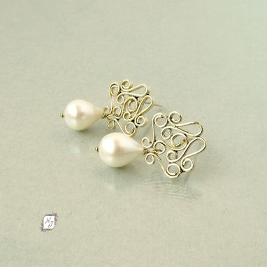 Custom Made Gold Filigree Post Earrings With Freshwater Pearl Teardrop