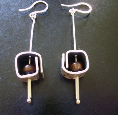 Custom Made Square Earrings With Wooden Bead