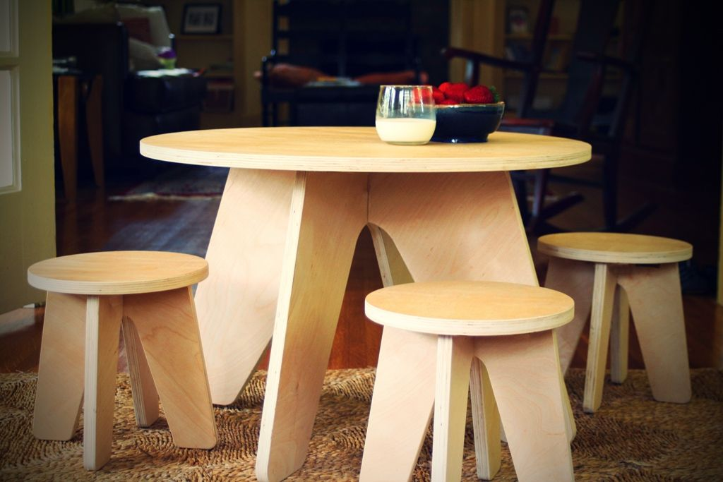 Buy Custom Modern Kids Table And Two Stools, made to order from ...