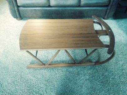 Custom Made Custom-Built Oak Bentwood Sled Coffee Table