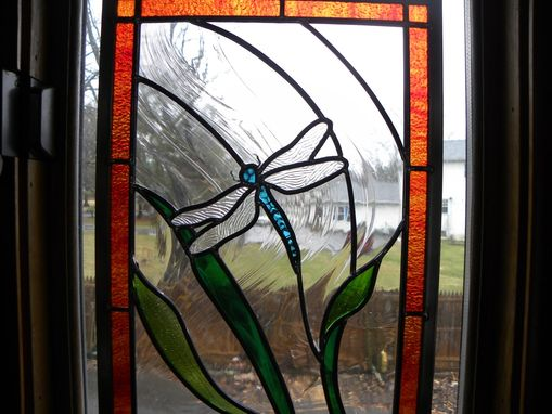 Custom Made Stained Glass Window Of Dragonfly