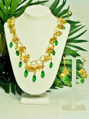 Custom Made Set - Golden Sun & Green Leaves Necklace And Matching Earrings