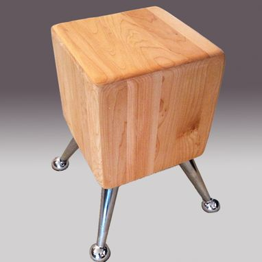 Custom Made Maple And Metal End Table Or Stool