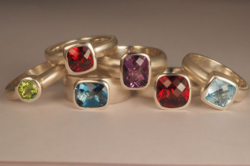 Custom Made Coloured Stone Rings