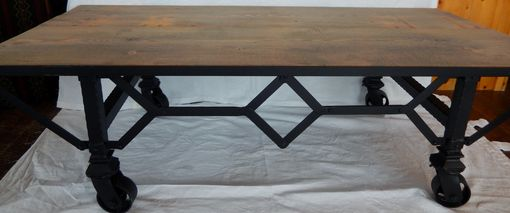 Custom Made Industrial Style Wrought Iron Coffee Table On Casters