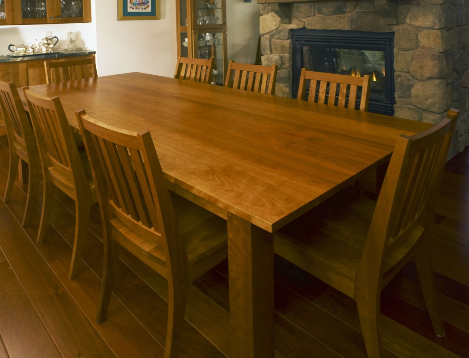 Custom made custom cherry dining table and chairs
