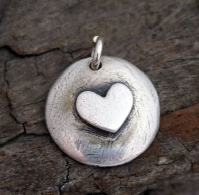 Custom Made Fine Silver Cupped Disk Charm - $40