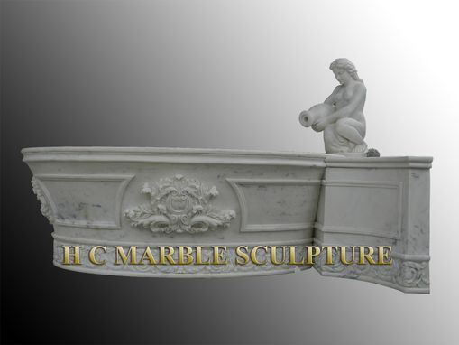 Custom Made Round Tapered Bottom Large Marble Bathtub