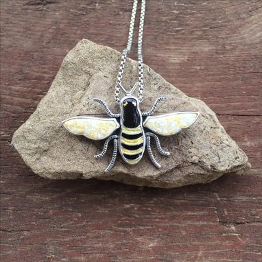 Custom Made Cloisonne Enamel Bee Necklace, Beekeeper Necklace,  Honeybee Necklace