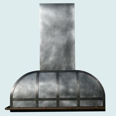Custom Made Zinc Range Hood With Continuous Pot Rail