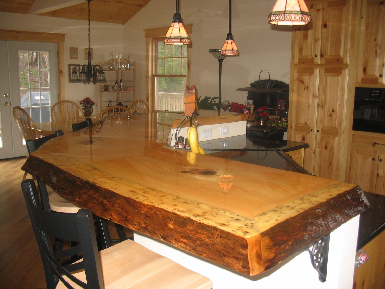 custom made rustic bar top by timeless woodworking
