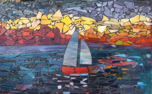 Custom Made Sunset Sail On A Beautiful Summer Day Mosaic
