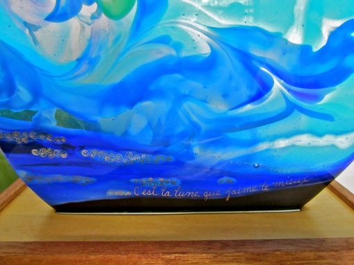 Custom Made Fused Glass Table Art And Accent Light Featuring Raked Glass- C'Est La Lune (It's The Moon)
