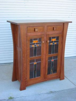Custom Made Display Cabinet With Leaded Glass Doors