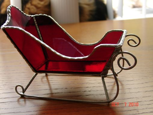 Custom Made Stained Glass Santa Sleds