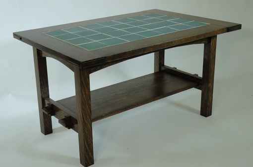Custom Made Mission Style White Oak And Tile Coffee Table