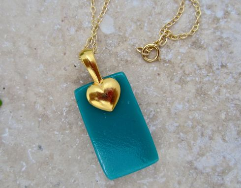 Custom Made Fused Glass Pendant With Gold Plated Bail And Gold Filled Chain - Persian Fringe