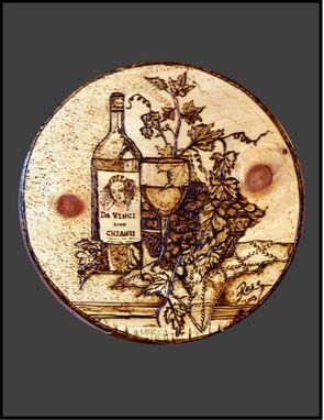 Custom Made Da Vinci, Wood Burned Plaque, Pyrography, Custom Art, Wine Art