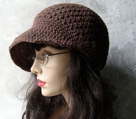 Custom Made Brimmed Beanie / Newsboy Hat - In Brown