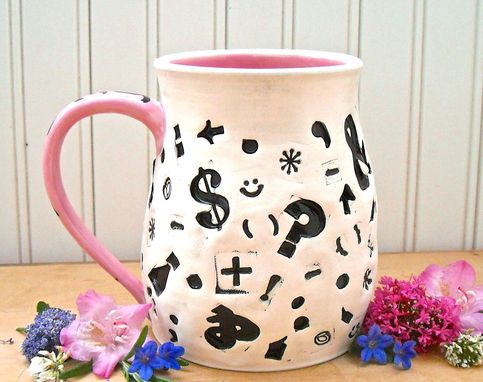 Custom Made Ceramic Pottery Large Teacher Punctuation Coffee Mug