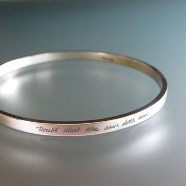 Custom Made Personalized Sterling Silver Bangle Bracelet, Engraved