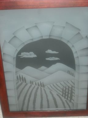 "Custom Made Framed Etched Glass For Walls Or Windows  "" Italy"""