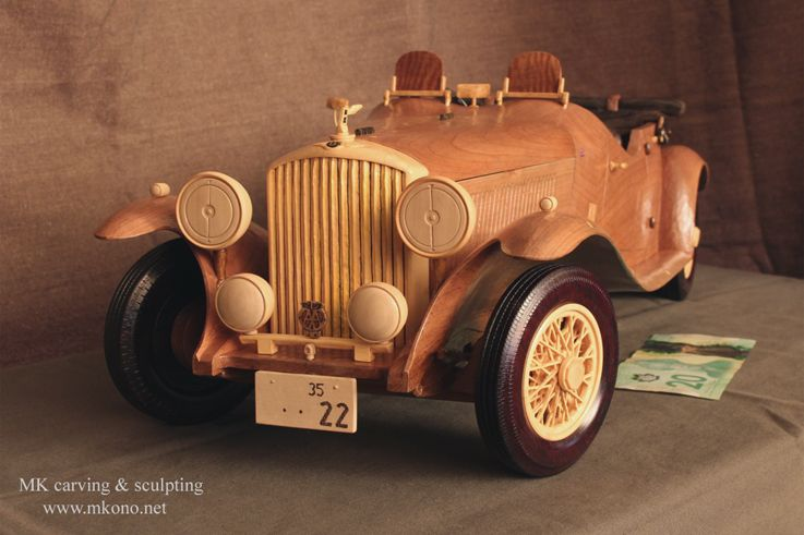 hand crafted classic car wooden model wood carving by mk carving