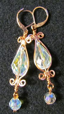 Custom Made Clear Crystal Teardrop Wrapped Earrings