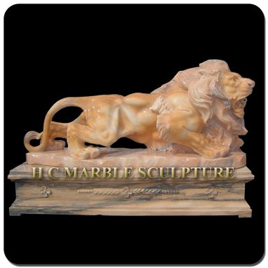 Custom Made Marble Walking Lion On Platform Base