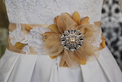 Custom Made Flower And Lace Bridal Sash