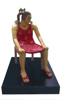 Custom Made Wood Lady Chair, Hand Carved & Hand Painted, Large Functional - Studioluda
