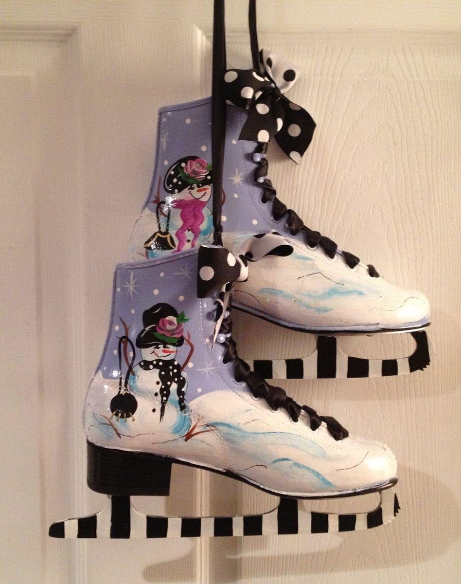 Custom Made Hand Painted Ice Figure Skates Pair Snowman