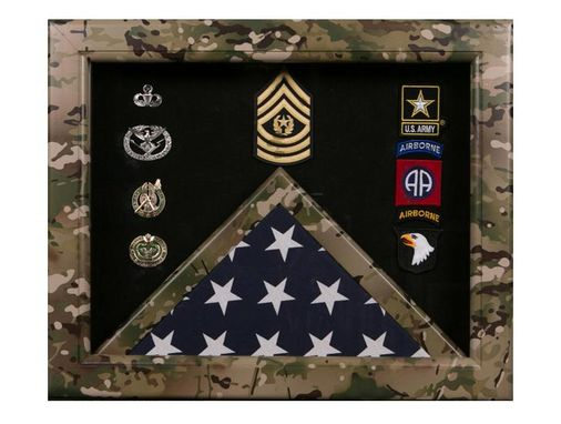 Custom Made Camouflage Shadowboxes, Camouflage Frame Flag Display Cases