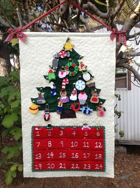 Custom Made Custom Quilted Christmas Advent Calendar Wall Hanging With Personalized Ornaments