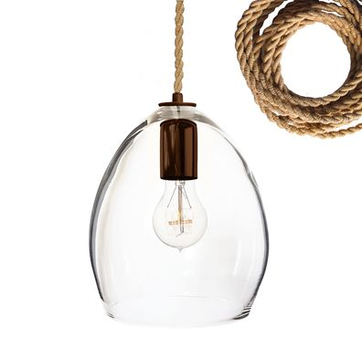 Custom Made Hand Blown Rustic Ship Rope Clear Glass Pendant Light