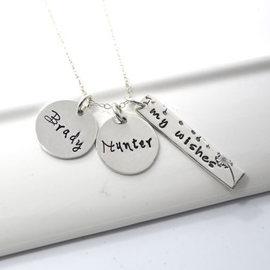 Custom Made Personalized My Wishes Hand Stamped Mommy Necklace