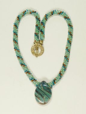 Custom Made Blue Green Kumihimo Necklace With Blue/Green Lampwork Pendant