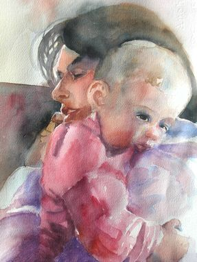Custom Made Impressionist Watercolor Painting Of A Young Mother With Her Sleepy Baby Girl